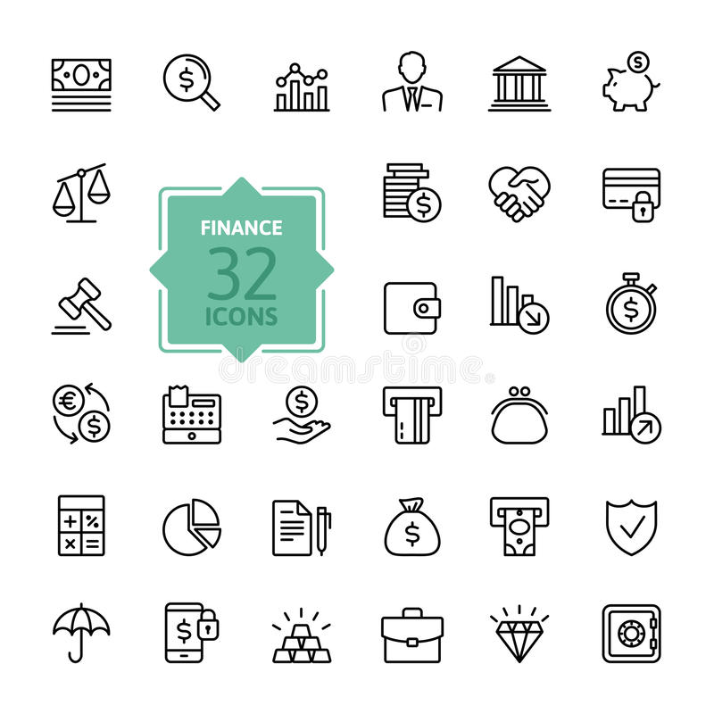 Outline web icons - money, finance, payments vector illustration