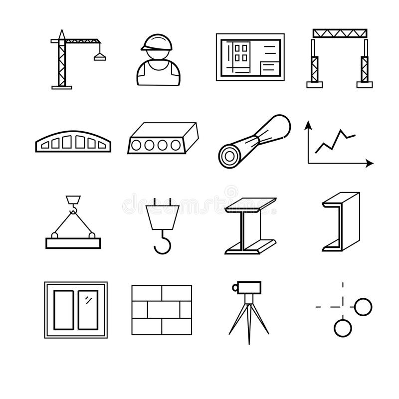 Outline web icons set - building, construction and design tools vector illustration