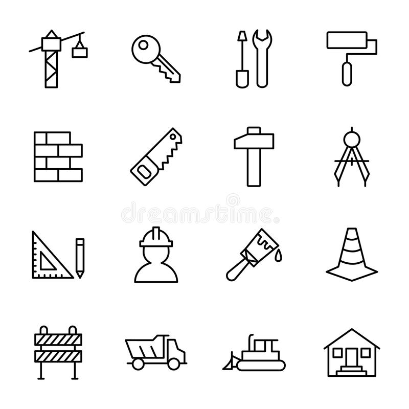 Building, construction, and home repair tools stock illustration