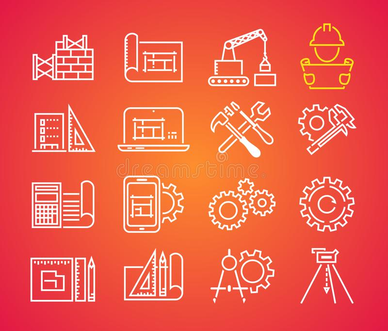 Outline web icons set - building, construction and home repair tools. Engineering line icon vector illustration
