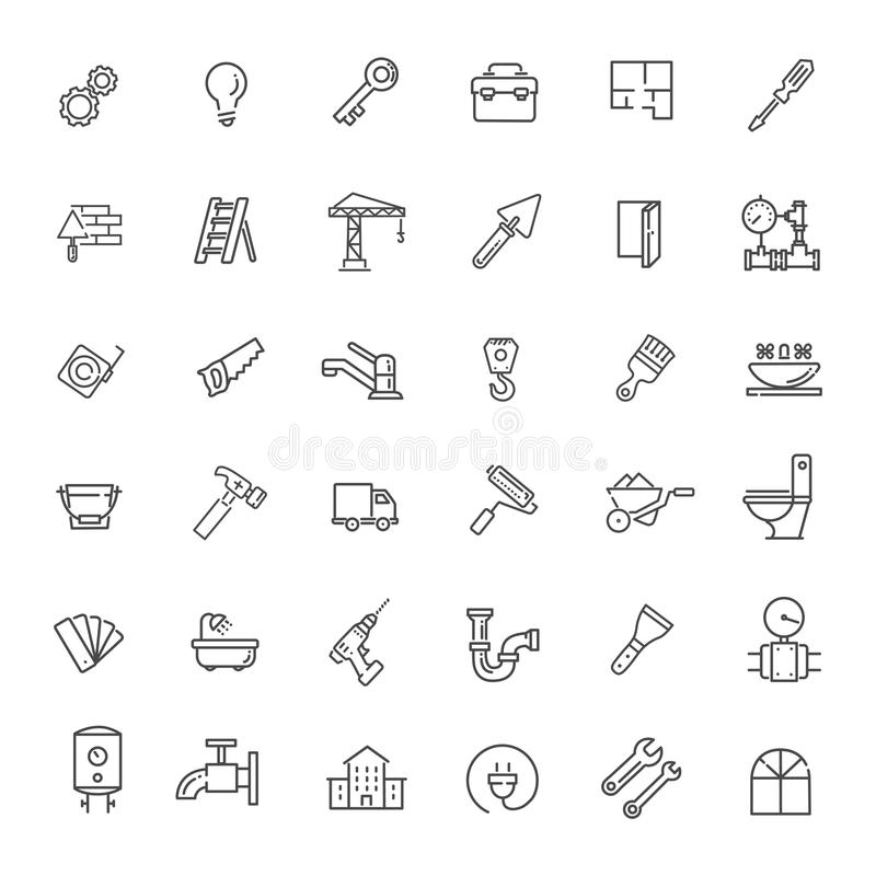 Outline web icons set - construction, home repair tools vector illustration