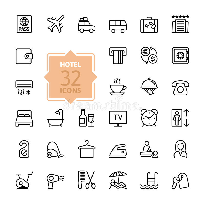 Outline web icons set - Hotel services vector illustration