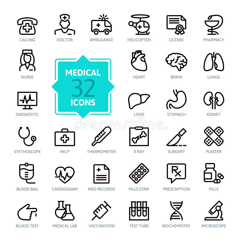 Outline web icons set - Medicine and Health symbols. Thin line icons - Medicine and Health symbols, isolated on white background
