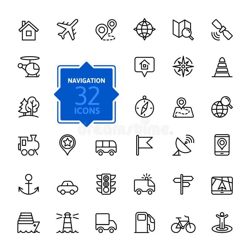 Outline web icons set - navigation, location, transport vector illustration
