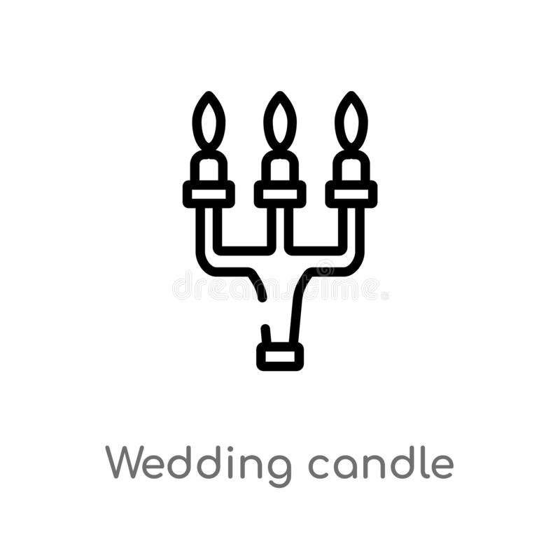 outline wedding candle vector icon. isolated black simple line element illustration from birthday party and wedding concept. royalty free illustration