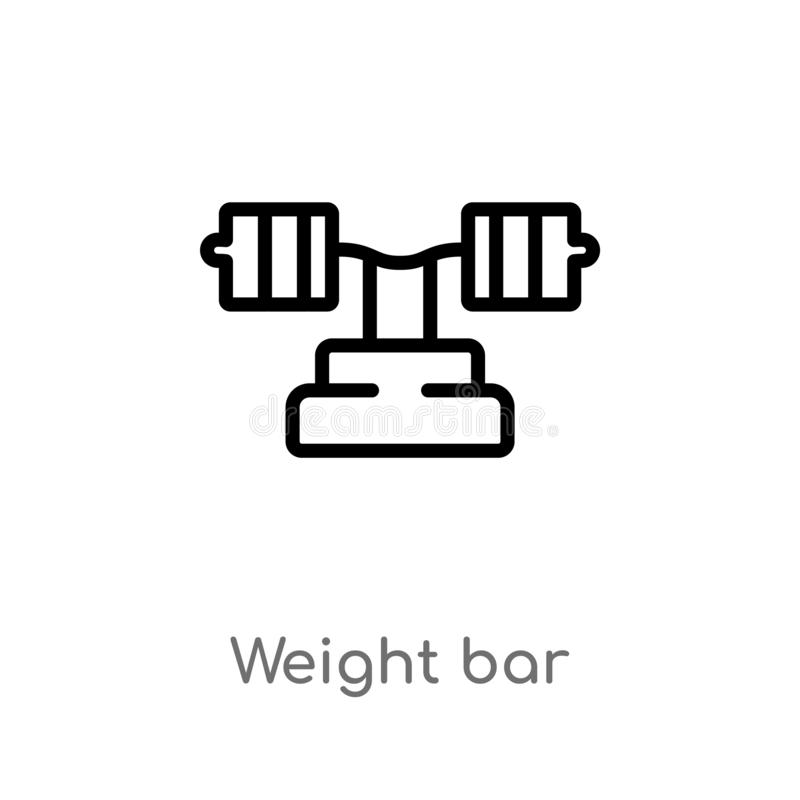 Outline weight bar vector icon. isolated black simple line element illustration from gym and fitness concept. editable vector. Stroke weight bar icon on white royalty free illustration