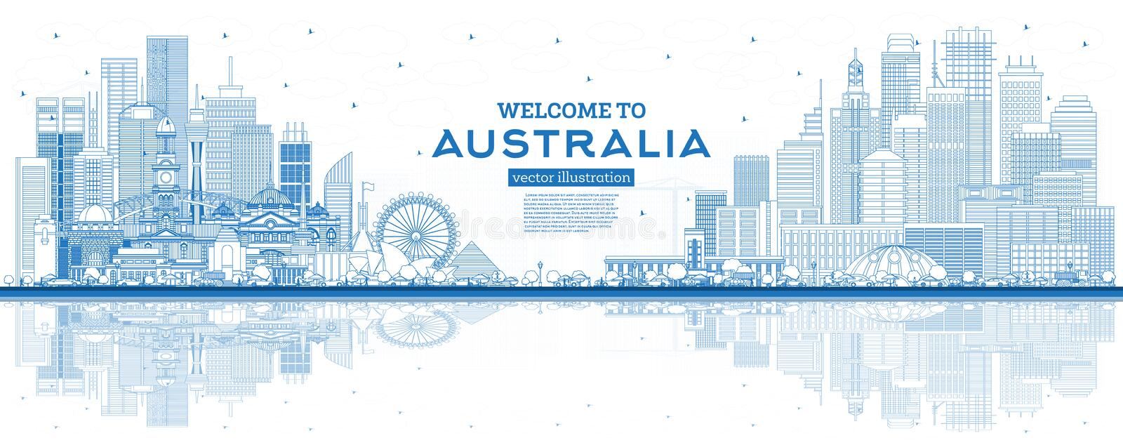 Outline Welcome to Australia Skyline with Blue Buildings and Reflections stock illustration