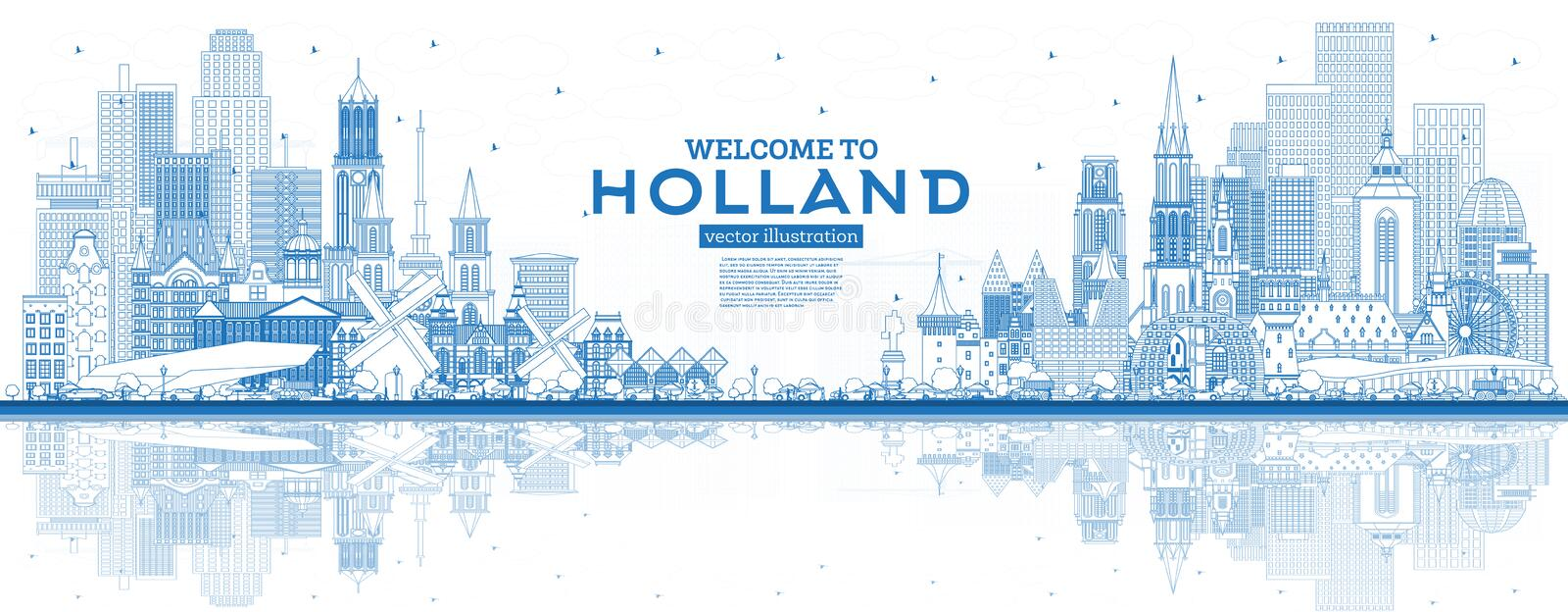 Outline Welcome to Netherlands Skyline with Blue Buildings. Vector Illustration. Tourism Concept with Historic Architecture. Cityscape with Landmarks royalty free illustration