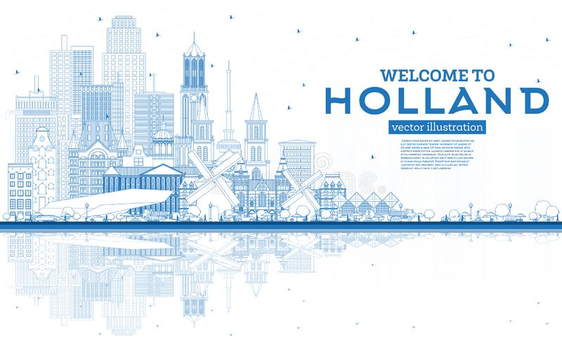 Outline Welcome to Netherlands Skyline with Blue Buildings. Vector Illustration. Tourism Concept with Historic Architecture. Cityscape with Landmarks vector illustration