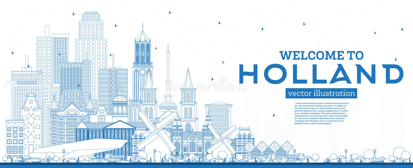 Outline Welcome to Netherlands Skyline with Blue Buildings. Vector Illustration. Tourism Concept with Historic Architecture. Netherlands Cityscape with stock illustration