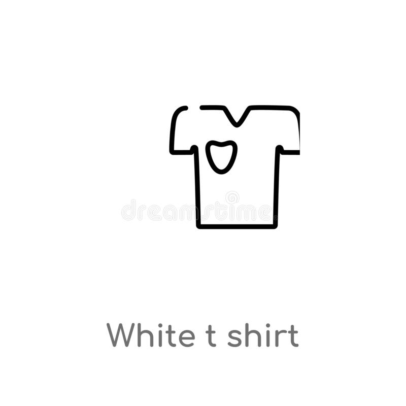 Outline white t shirt vector icon. isolated black simple line element illustration from fashion concept. editable vector stroke. White t shirt icon on white royalty free illustration