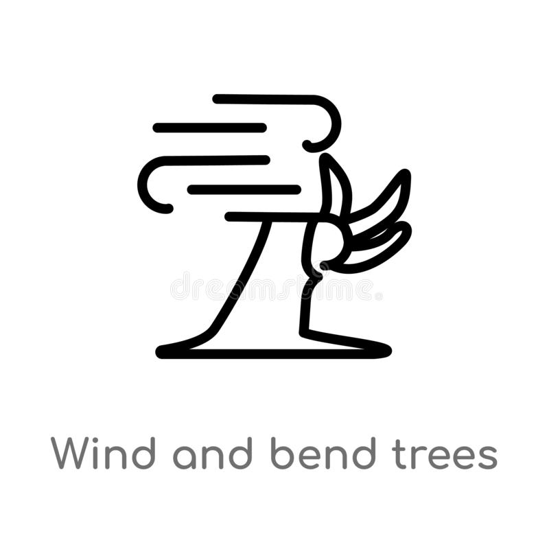 outline wind and bend trees vector icon. isolated black simple line element illustration from meteorology concept. editable vector stock illustration