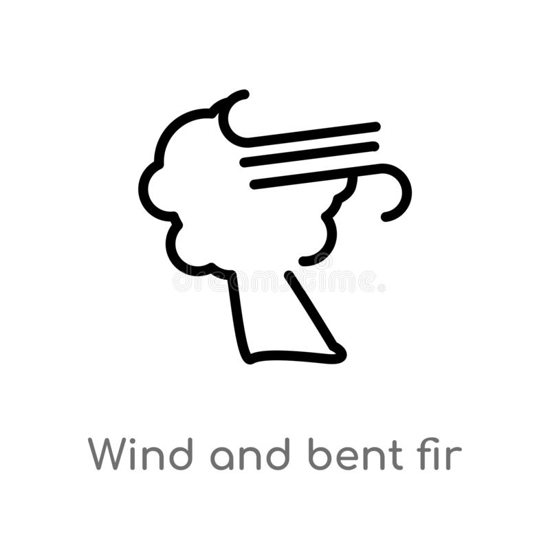 Outline wind and bent fir vector icon. isolated black simple line element illustration from meteorology concept. editable vector. Stroke wind and bent fir icon vector illustration