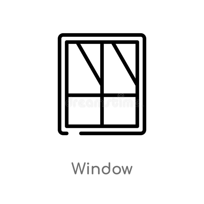 Outline window vector icon. isolated black simple line element illustration from furniture concept. editable vector stroke window. Icon on white background royalty free illustration