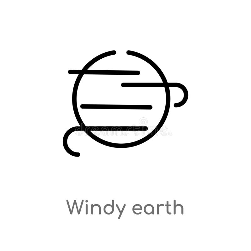 Outline windy earth vector icon. isolated black simple line element illustration from meteorology concept. editable vector stroke. Windy earth icon on white vector illustration