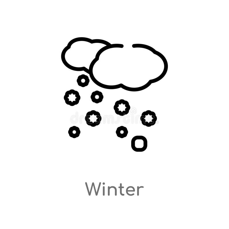 Outline winter vector icon. isolated black simple line element illustration from meteorology concept. editable vector stroke. Winter icon on white background stock illustration