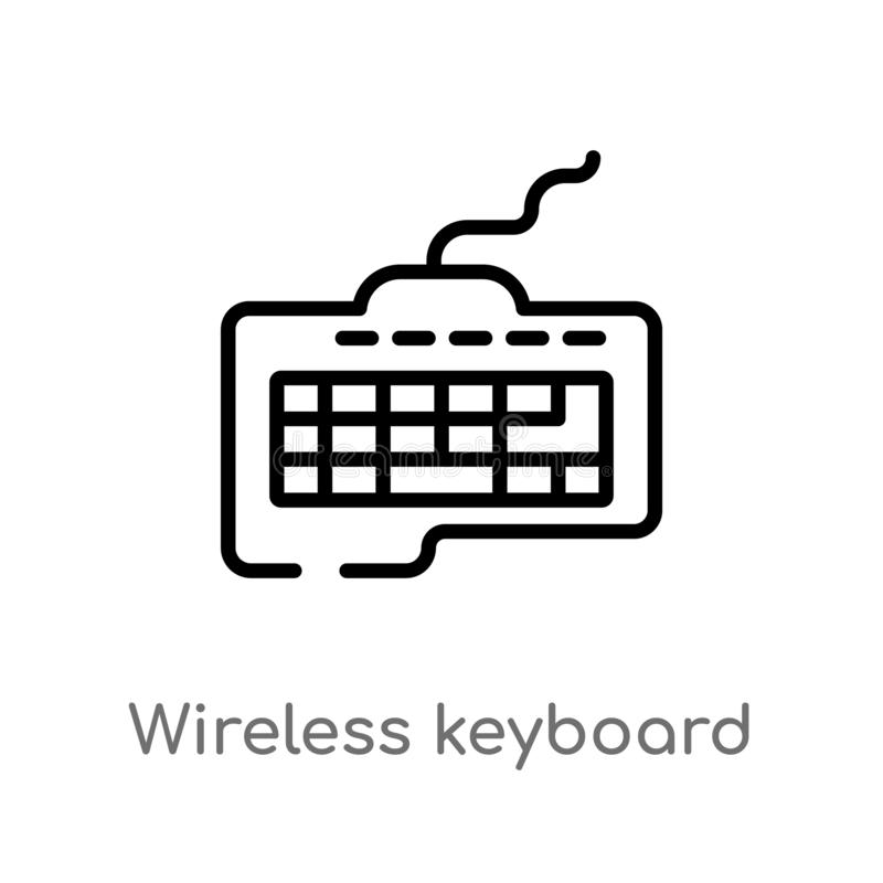 outline wireless keyboard vector icon. isolated black simple line element illustration from ultimate glyphicons concept. editable vector illustration