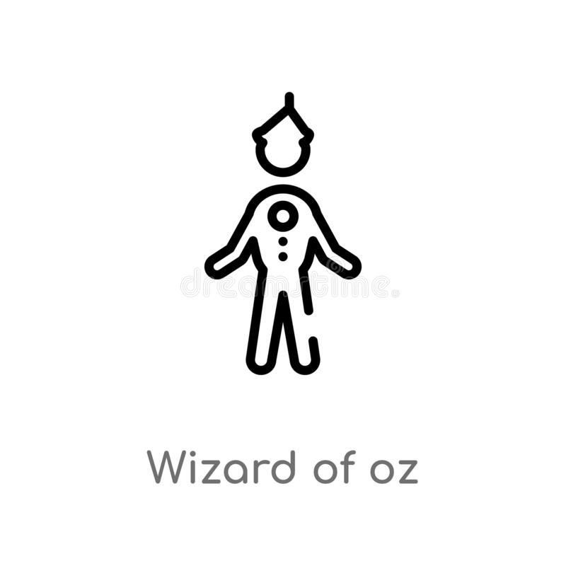 outline wizard of oz vector icon. isolated black simple line element illustration from literature concept. editable vector stroke stock illustration
