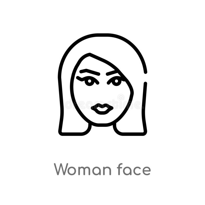 outline woman face vector icon. isolated black simple line element illustration from beauty concept. editable vector stroke woman stock illustration