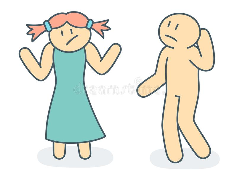 Outline woman and man in difficult situation of emotion behavior - vector stock photos