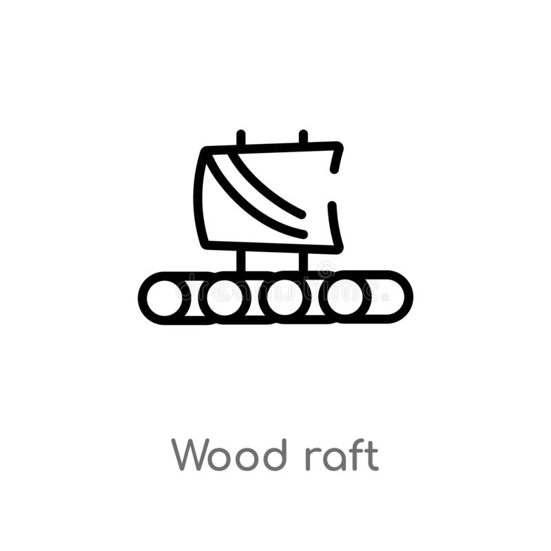 outline wood raft vector icon. isolated black simple line element illustration from nautical concept. editable vector stroke wood royalty free illustration