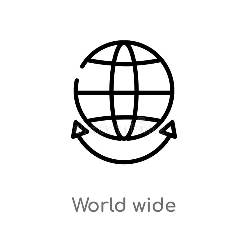 outline world wide vector icon. isolated black simple line element illustration from multimedia concept. editable vector stroke royalty free illustration