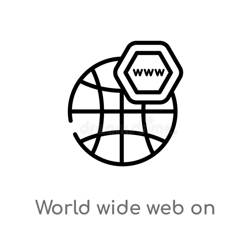 outline world wide web on grid vector icon. isolated black simple line element illustration from web concept. editable vector vector illustration