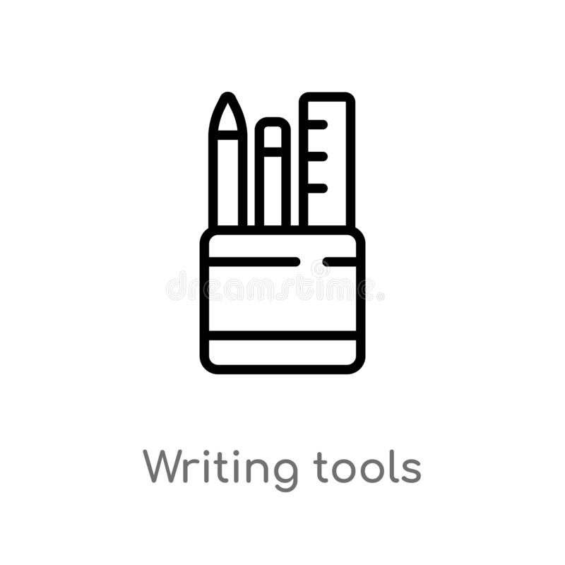 outline writing tools vector icon. isolated black simple line element illustration from tools and utensils concept. editable vector illustration