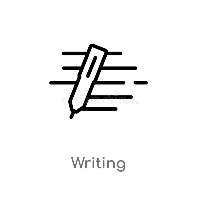outline writing vector icon. isolated black simple line element illustration from customer service concept. editable vector stroke stock illustration