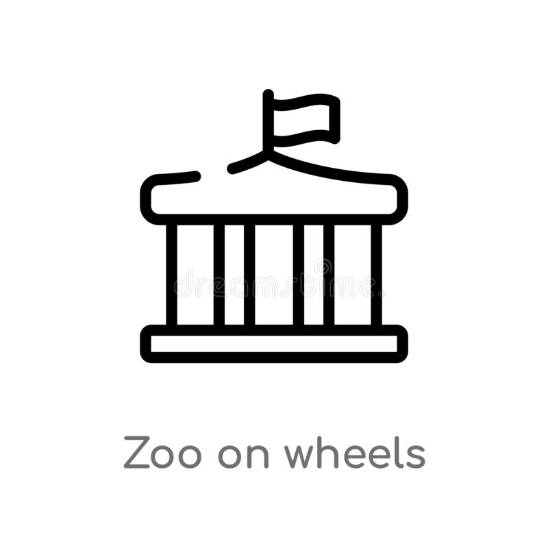 outline zoo on wheels vector icon. isolated black simple line element illustration from transport concept. editable vector stroke vector illustration