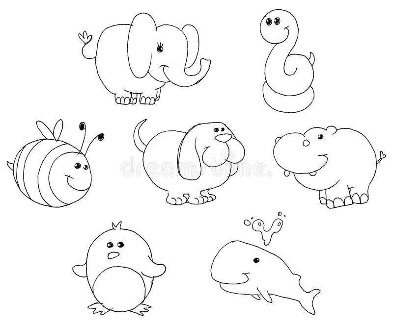 Download Outlined animal doodles stock vector. Image of hippo - 22543864