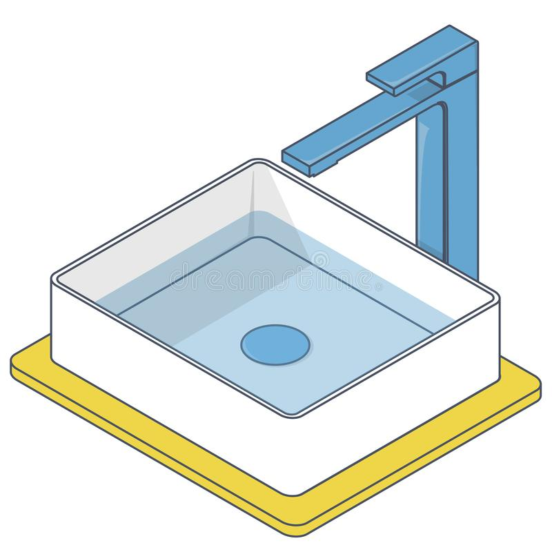 Outlined bathroom sink. Blue yellow isometric basin with tap and water. Outlined bathroom sink. Isometric basin with tap and water. Blue yellow kitchen interior stock illustration