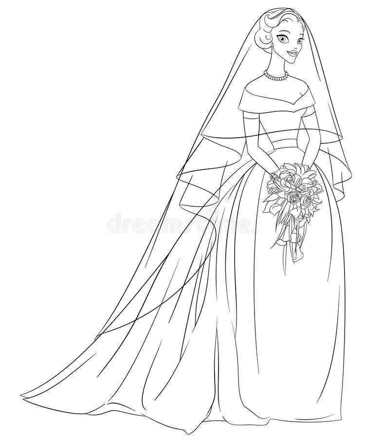 Outlined bride with veil and bouquet. Line art coloring page vector illustration. royalty free illustration