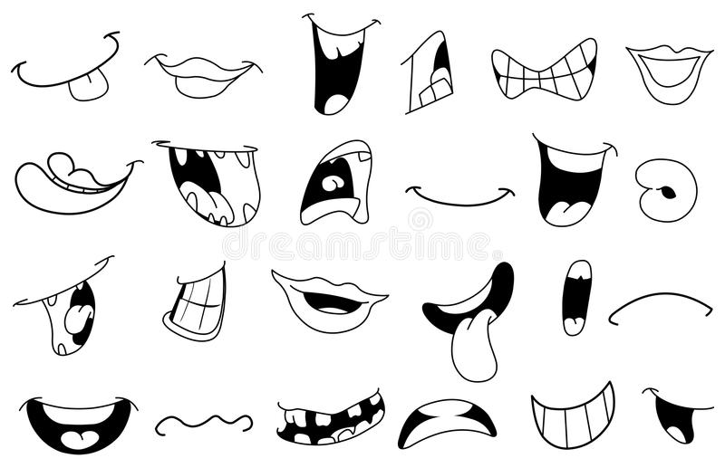 Download Outlined cartoon mouths stock vector. Illustration of manga - 24823780