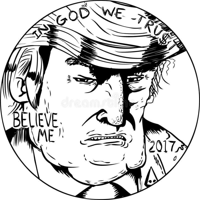 Outlined Donald J. Trump on Penny. Jan. 2, 2017. Outlined close up of Donald Trump face on side of penny vector illustration
