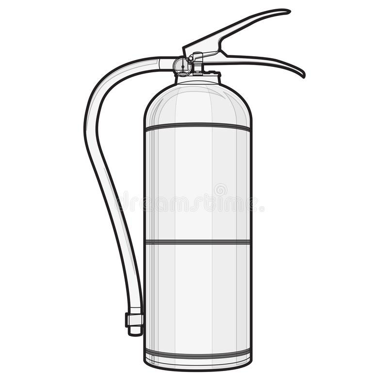 Outlined extinguisher with hose. Safety fire-fighting equipment. Firefighting equipment and fire protection. Master vector illustration, isolated on white royalty free illustration