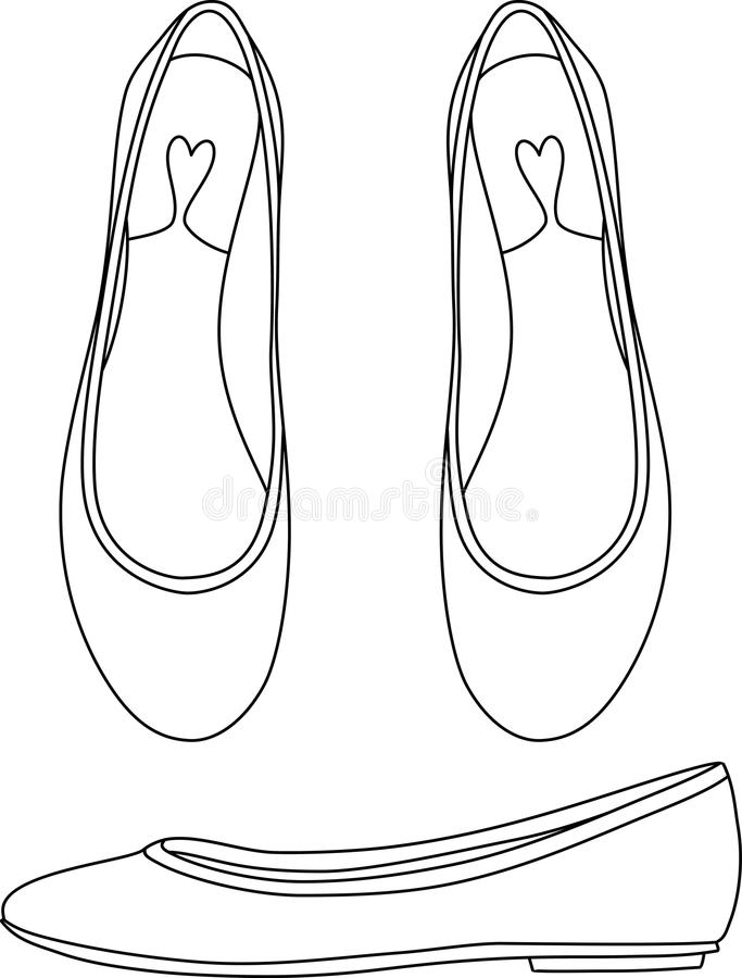 Outlined Flat Shoes stock illustration
