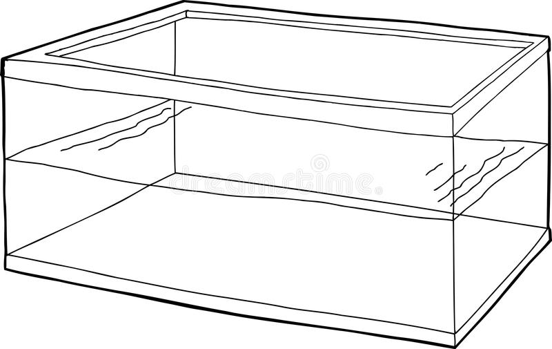 Outlined Half Full Fish Tank Stock Illustration