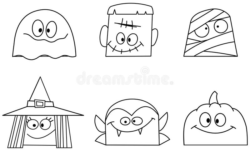 Outlined halloween faces stock vector. Illustration of mask - 77068918