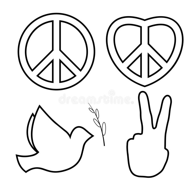 Outlined hippie peace sign. Line icons set royalty free illustration