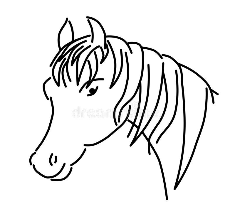 Outlined horse head vector, illustration royalty free stock image