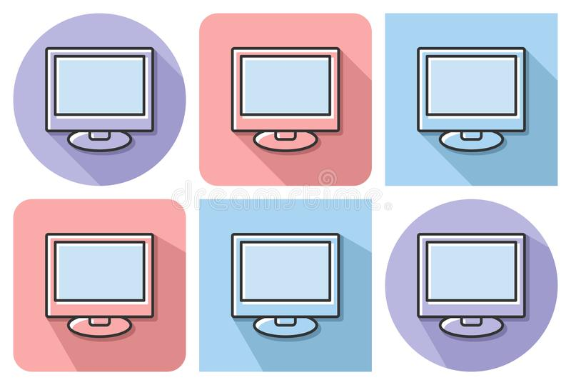Outlined icon of LCD vector illustration