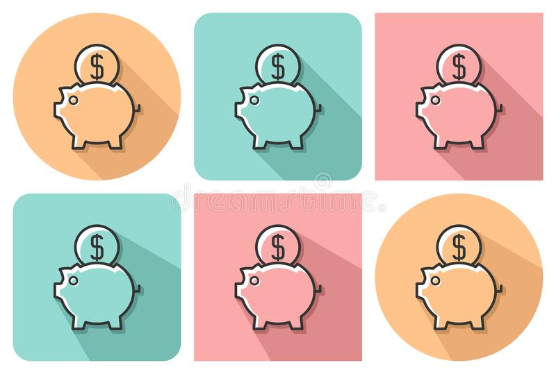 Outlined icon of piggy bank royalty free illustration