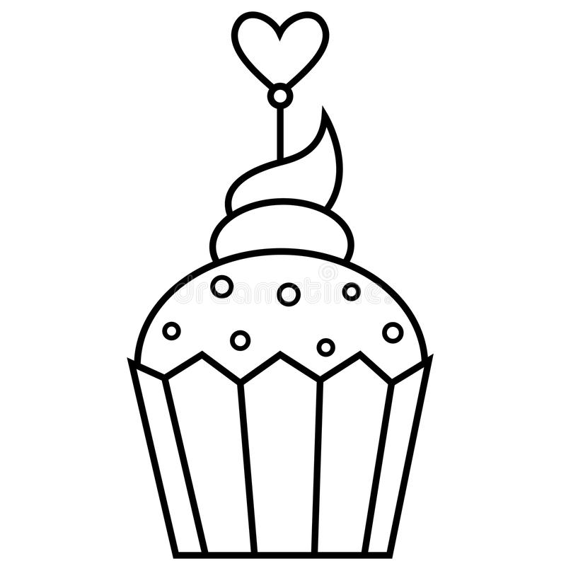 Outlined illustration of cupcake stock photography