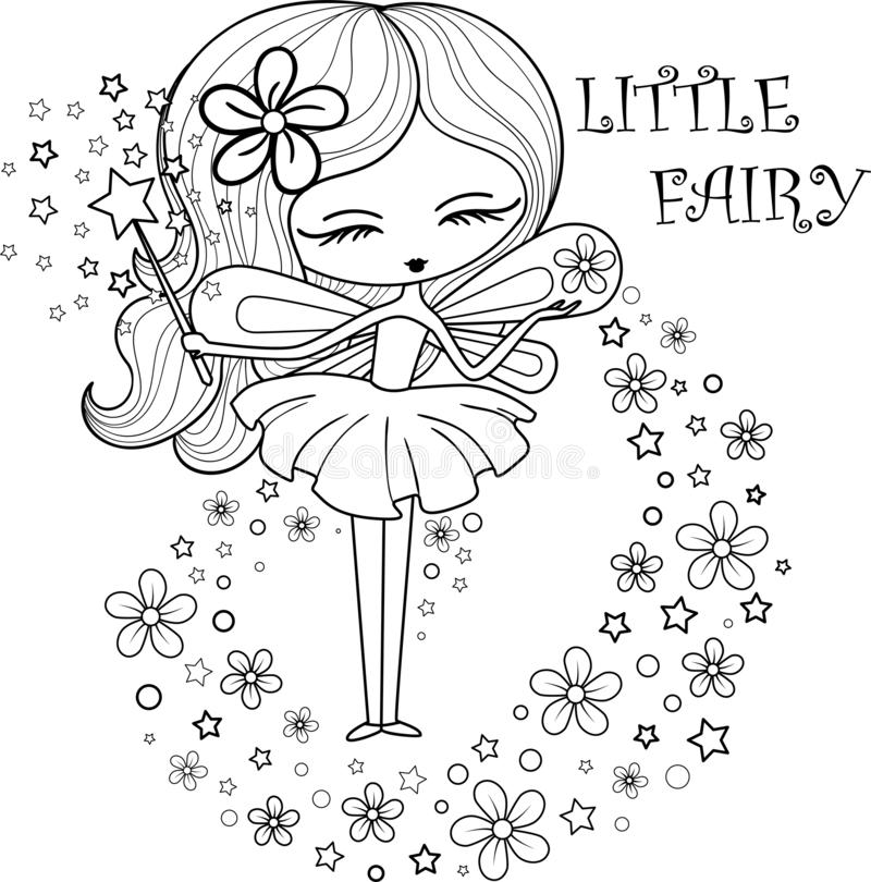 Outlined illustration of a little fairy stock photo