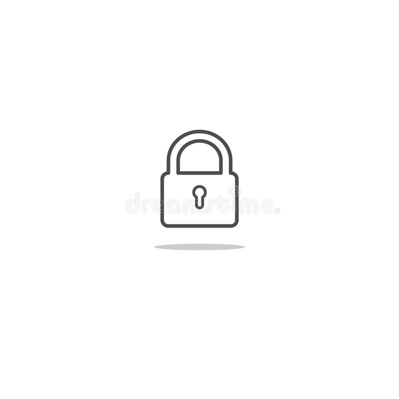 Outlined isolated lock icon illustration royalty free illustration