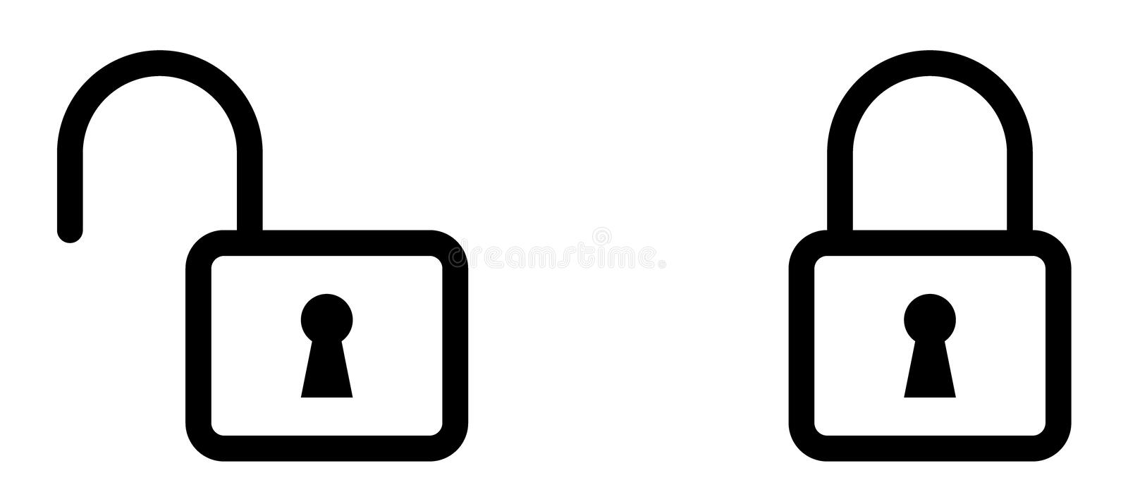 Outlined: Lock Icon - Symbol royalty free stock photos
