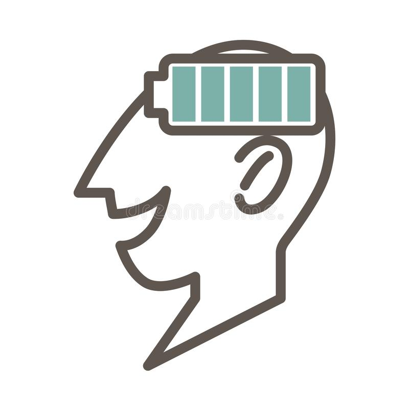 Outlined male face profile with full battery symbol. Outlined male face profile that smiles with open mouth and full battery symbol isolated minimalistic vector vector illustration