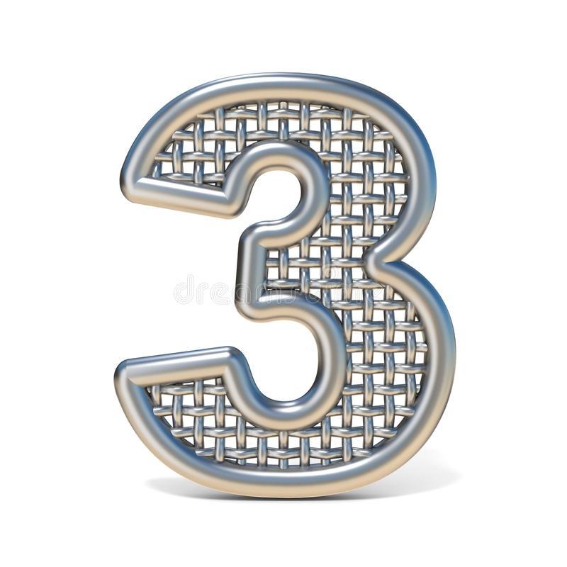 Outlined Metal Wire Mesh Font Number 3 THREE 3D Stock Illustration ...