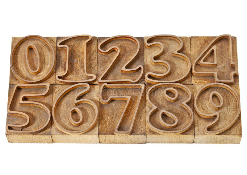 Download Outlined Numbers In Wood Type Royalty Free Stock Images - Image: 23193209
